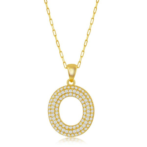 Sterilng Silver Micro Pave CZ O Block Initial w/ Paperclip Chain - Gold Plated Robert Irwin Jewelers Memphis, TN