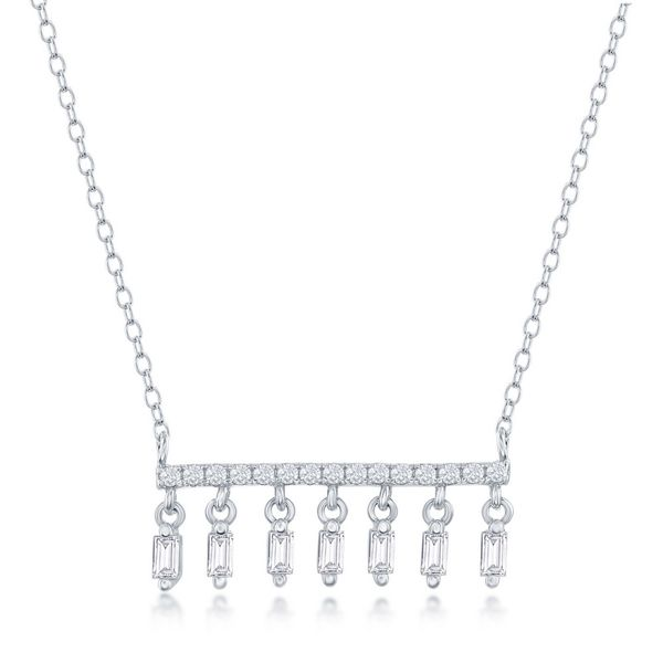Sterling Silver CZ Bar with Baguette CZ Dangling Charms Necklace Robert Irwin Jewelers Memphis, TN