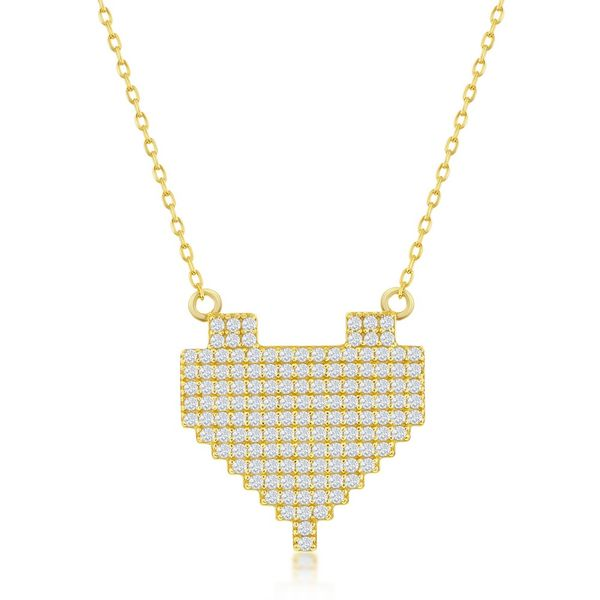 Sterling Silver CZ Pixel Heart Necklace - Gold Plated Robert Irwin Jewelers Memphis, TN