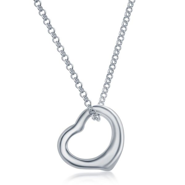 Silver Necklace With Open Heart Pendant Robert Irwin Jewelers Memphis, TN