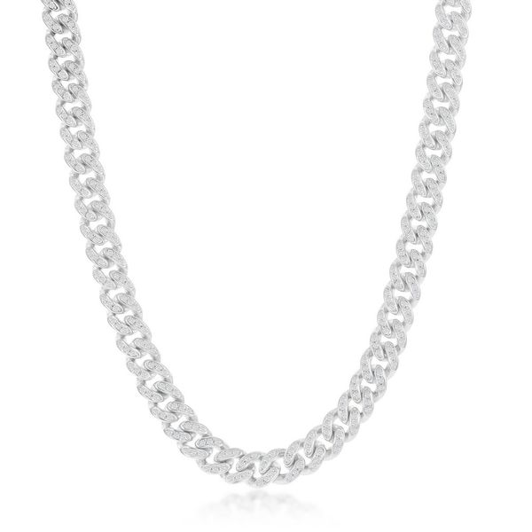Sterling Silver Micro Pave CZ, 6mm Miami Cuban Chain - Rhodium Plated Robert Irwin Jewelers Memphis, TN