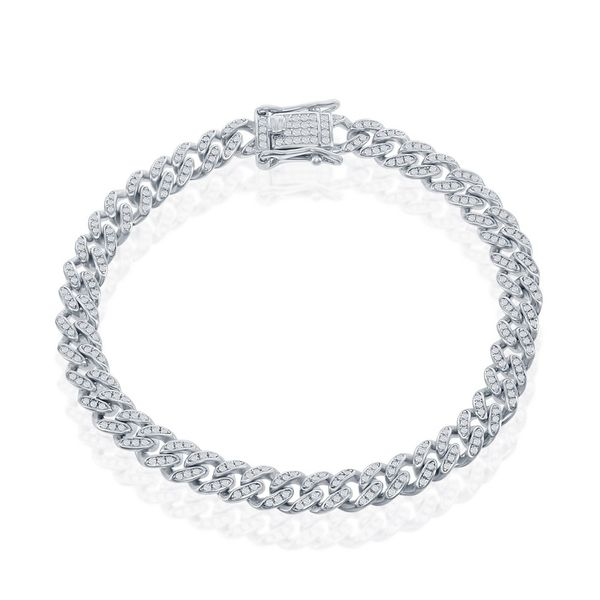 Sterling Silver Micro Pave CZ, 6mm Miami Cuban Chain - Rhodium Plated Image 3 Robert Irwin Jewelers Memphis, TN
