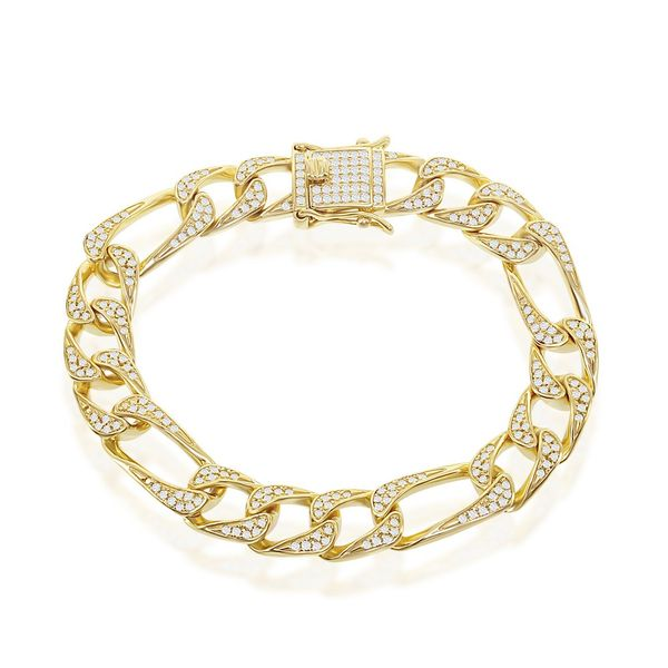 Sterling Silver 10MM CZ Figaro Bracelet - Gold Plated Robert Irwin Jewelers Memphis, TN