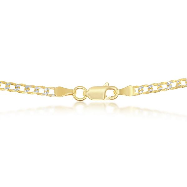 Sterling Silver 3mm Pave Cuban Chain - Gold Plated Image 2 Robert Irwin Jewelers Memphis, TN