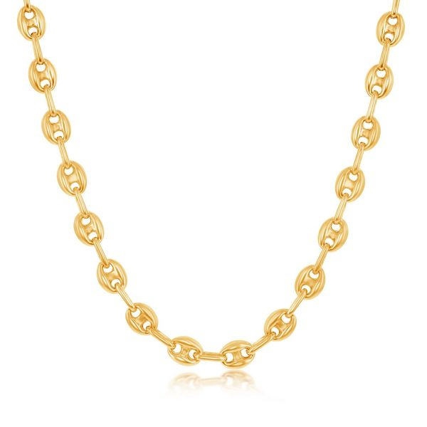 Sterling Silver 6mm Puffed Marina Chain - Gold Plated Robert Irwin Jewelers Memphis, TN
