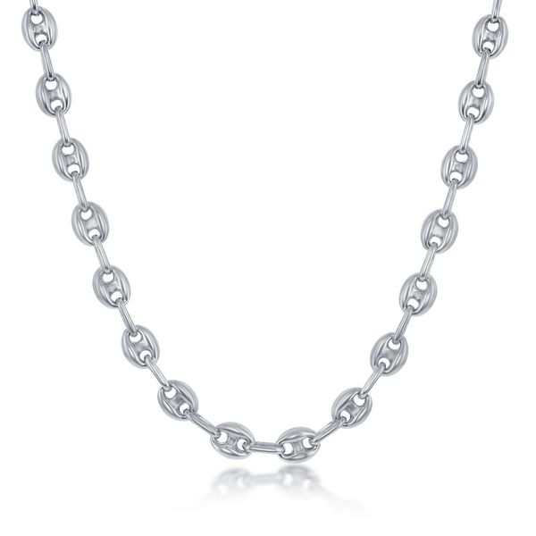 Sterling Silver 6mm Puffed Marina Chain - Rhodium Plated Robert Irwin Jewelers Memphis, TN