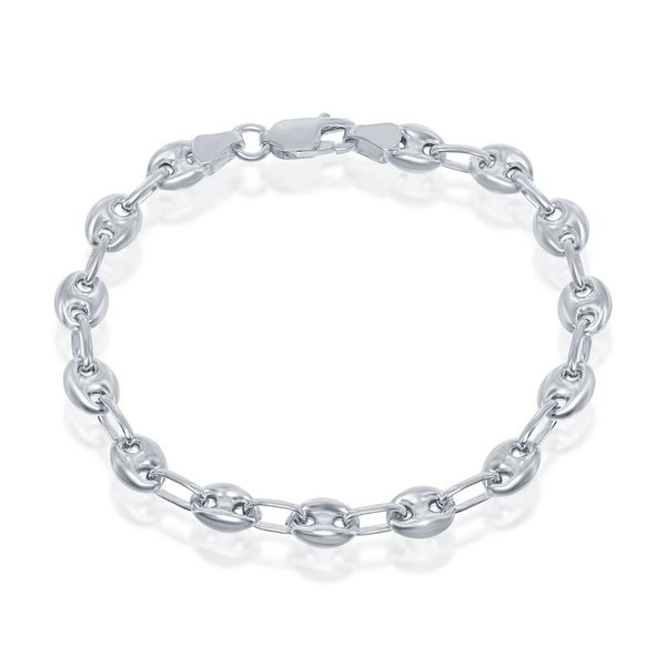 Sterling Silver 6mm Puffed Marina Chain - Rhodium Plated Image 2 Robert Irwin Jewelers Memphis, TN