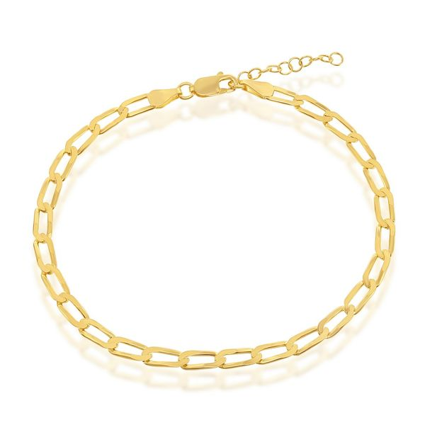 Sterling Silver 4.3MM Flat Paperclip Chain - Gold Plated Image 3 Robert Irwin Jewelers Memphis, TN