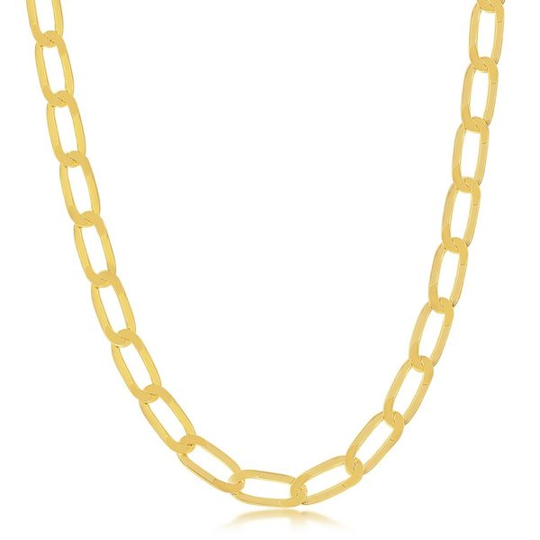 Sterling Silver 6MM Flat Paperclip Chain - Gold Plated Robert Irwin Jewelers Memphis, TN
