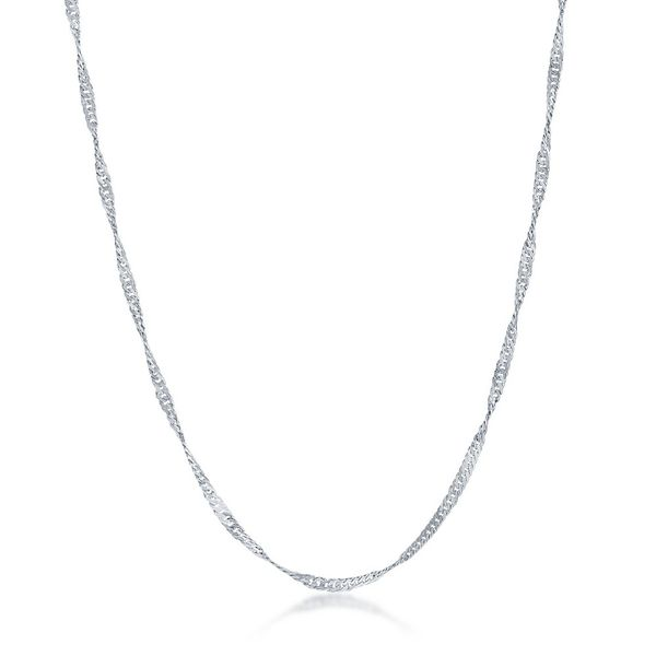 Sterling Silver 2mm Singapore Adjustable Chain - Rhodium Plated Robert Irwin Jewelers Memphis, TN