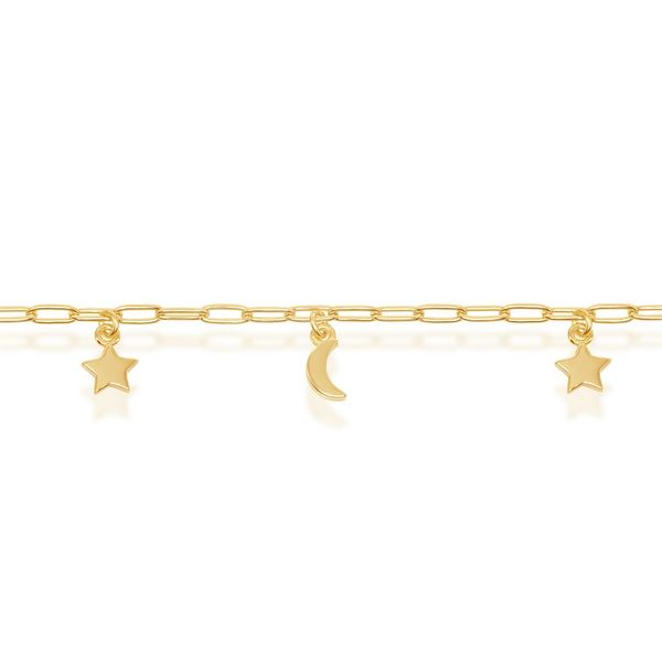 Sterling Silver Moon & Star Charms Paperclip Anklet - Gold Plated Image 2 Robert Irwin Jewelers Memphis, TN