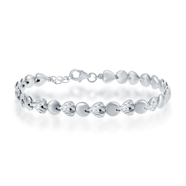 Sterling Silver Alternating D-C Hearts and Puffed Circles Bracelet Robert Irwin Jewelers Memphis, TN