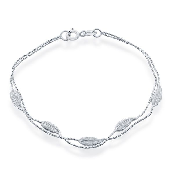 Sterling Silver Double Strand with Leaves Bracelet Robert Irwin Jewelers Memphis, TN