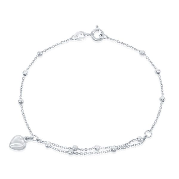 Sterling Silver Beads with Heart Charm Bracelet Robert Irwin Jewelers Memphis, TN