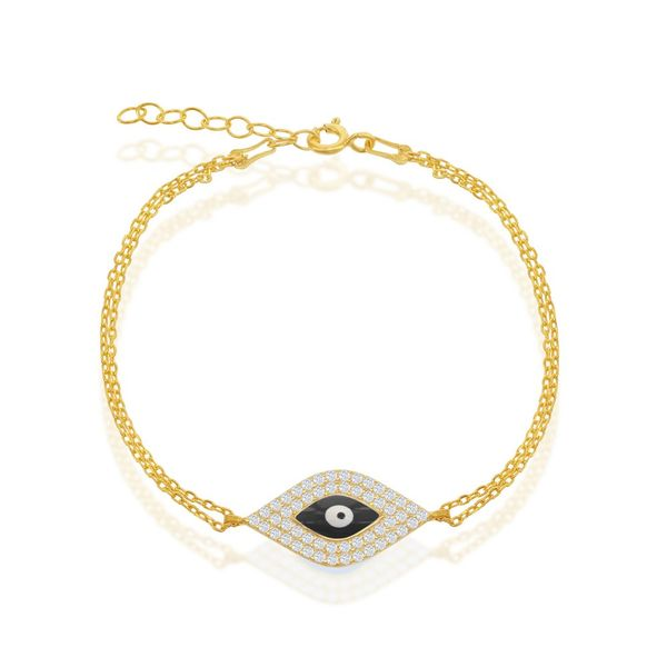 Sterling Silver Double-Strand w/ Center CZ and Black Evil Eye Bracelet -Gold Plated Robert Irwin Jewelers Memphis, TN