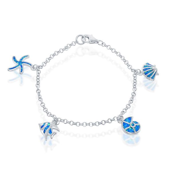 Sterling Silver Blue Inlay Opal Shell and Fish Charm Bracelet Robert Irwin Jewelers Memphis, TN
