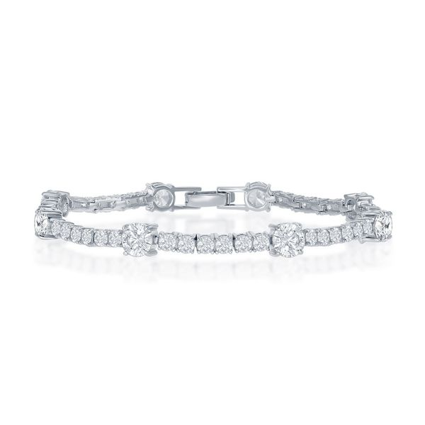 Sterling Silver Round 3mm and 6mm CZ Tennis Bracelet Robert Irwin Jewelers Memphis, TN