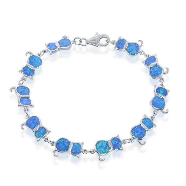 Sterling Silver Blue Inlay Opal Cat Linked Bracelet Robert Irwin Jewelers Memphis, TN