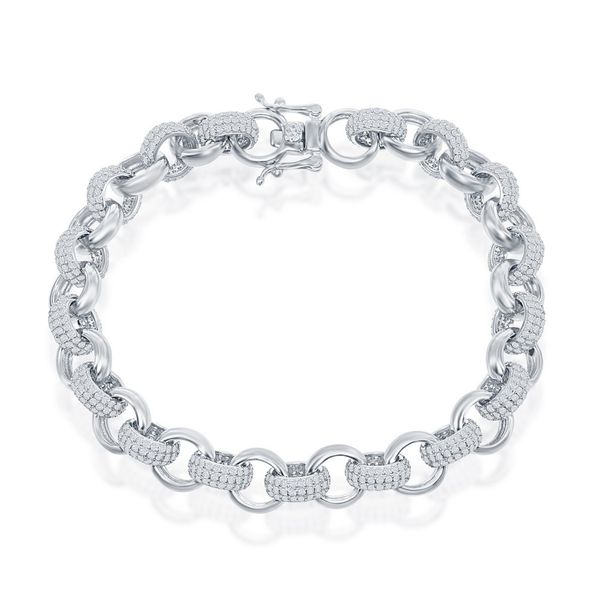 Sterling Silver CZ and Polished Linked Bracelet Robert Irwin Jewelers Memphis, TN