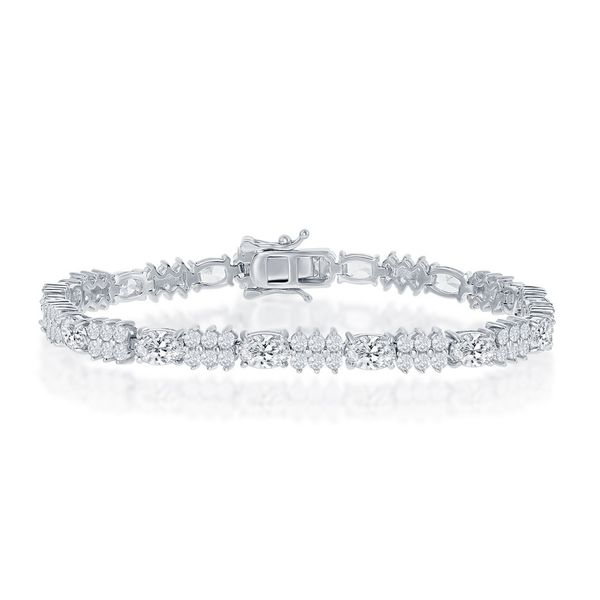 Sterling Silver Oval and Round CZ 4mm Tennis Bracelet Robert Irwin Jewelers Memphis, TN