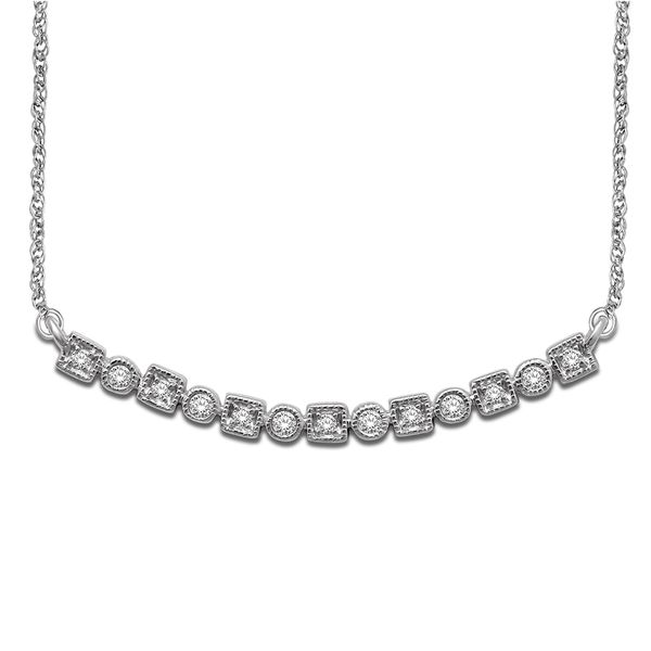 14K White Gold 1/8 Ct.Tw. Diamond Stackable Necklace Robert Irwin Jewelers Memphis, TN