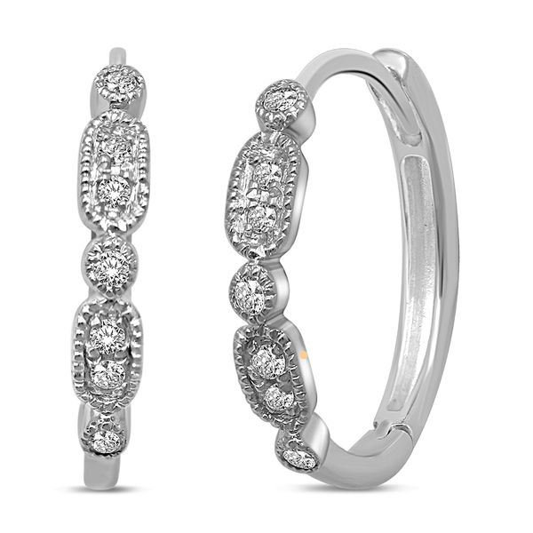 14K White Gold 1/10 Ct.Tw. Diamond Stackable Hoop Earrings Robert Irwin Jewelers Memphis, TN