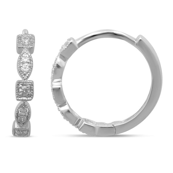 14K White Gold 1/8 Ct.Tw. Diamond Stackable Hoop Earrings Robert Irwin Jewelers Memphis, TN