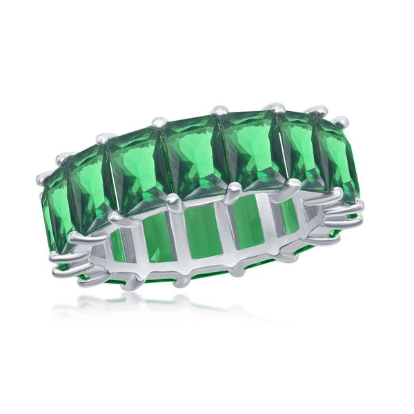 Sterling Silver 6mm Emerald CZ Eternity Band Ring Robert Irwin Jewelers Memphis, TN