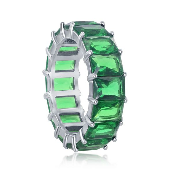 Sterling Silver 6mm Emerald CZ Eternity Band Ring Image 2 Robert Irwin Jewelers Memphis, TN