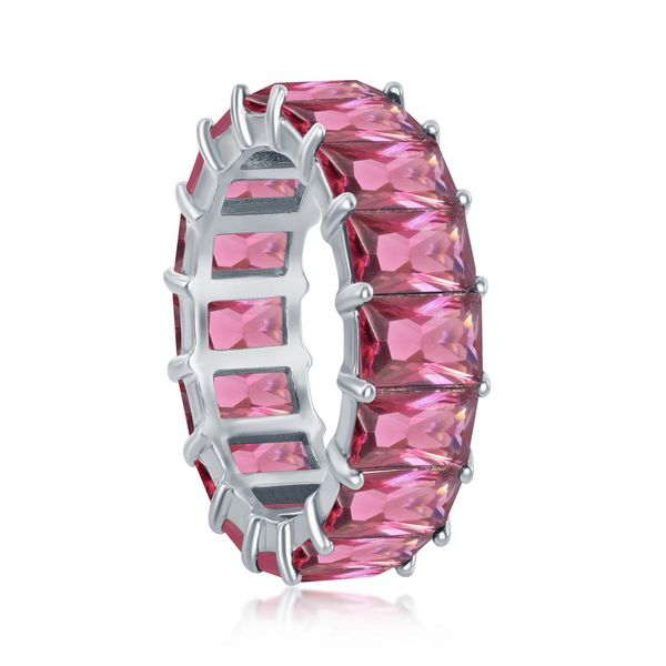 Sterling Silver 6mm Ruby CZ Emerald-Cut-Cut Eternity Band Ring Image 2 Robert Irwin Jewelers Memphis, TN