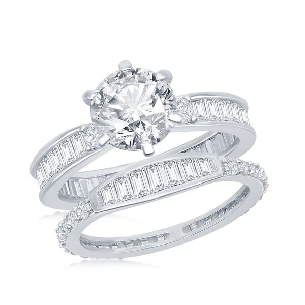 Sterling Silver Six-Prong Baguette CZ Band Engagement Ring Set Robert Irwin Jewelers Memphis, TN