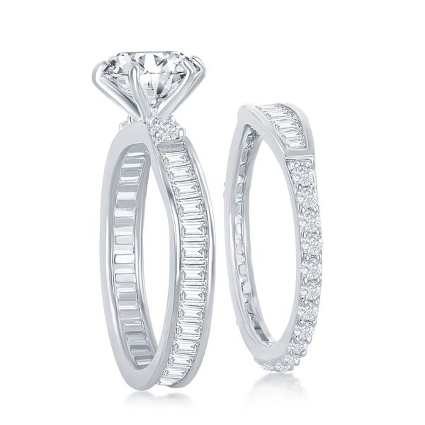Sterling Silver Six-Prong Baguette CZ Band Engagement Ring Set Image 2 Robert Irwin Jewelers Memphis, TN