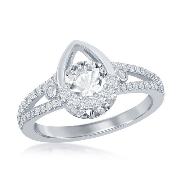 Sterling Silver Pear-shaped Round CZ Ring Robert Irwin Jewelers Memphis, TN