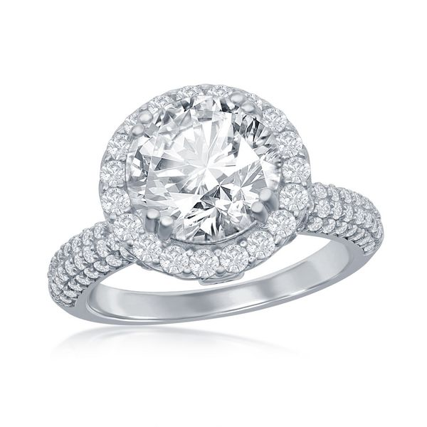 Sterling Silver Crown Set Round CZ with Halo Micro Pave CZ Band Engagement Ring Robert Irwin Jewelers Memphis, TN