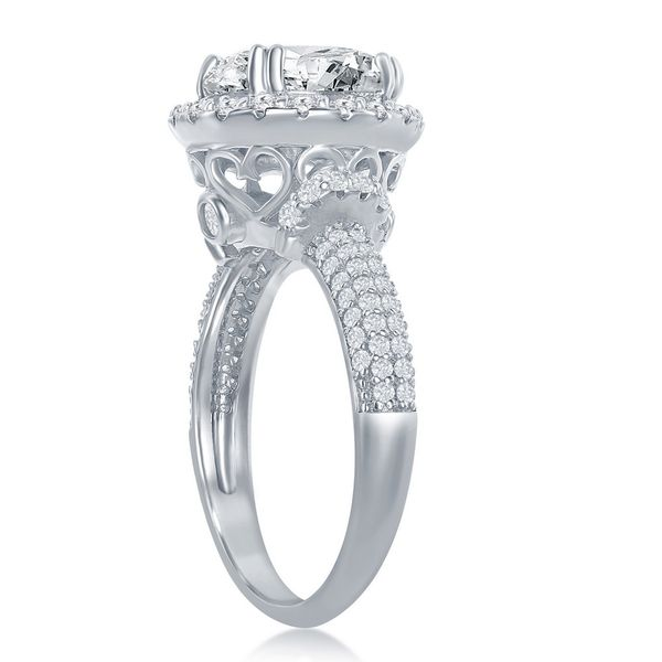 Sterling Silver Crown Set Round CZ with Halo Micro Pave CZ Band Engagement Ring Image 2 Robert Irwin Jewelers Memphis, TN