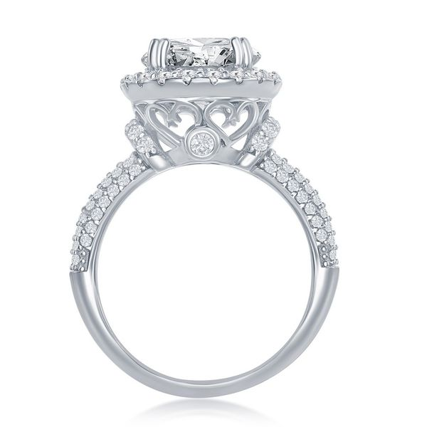 Sterling Silver Crown Set Round CZ with Halo Micro Pave CZ Band Engagement Ring Image 3 Robert Irwin Jewelers Memphis, TN