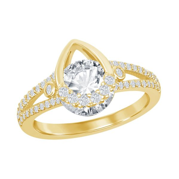 Sterling Silver Pear-shaped Round CZ Ring - Gold Plated Robert Irwin Jewelers Memphis, TN