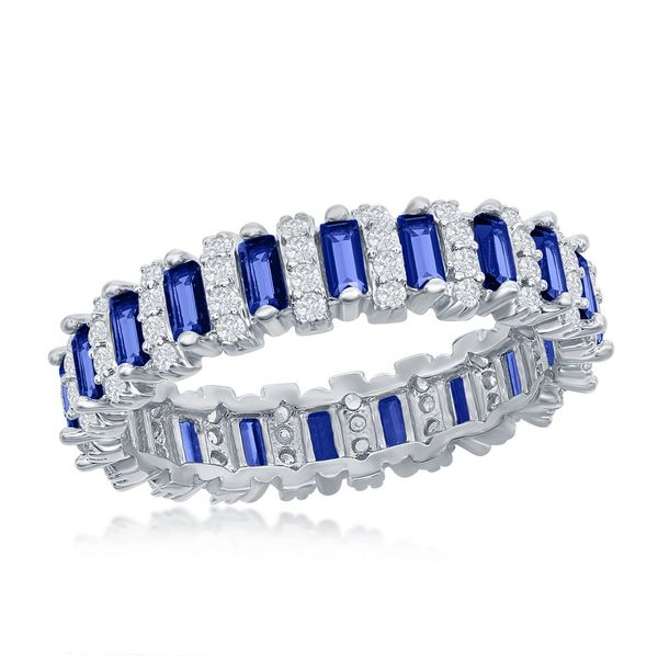 Sterling Silver Round & Baguette Eternity Band Ring - Sapphire CZ Robert Irwin Jewelers Memphis, TN