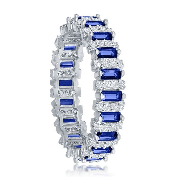 Sterling Silver Round & Baguette Eternity Band Ring - Sapphire CZ Image 2 Robert Irwin Jewelers Memphis, TN