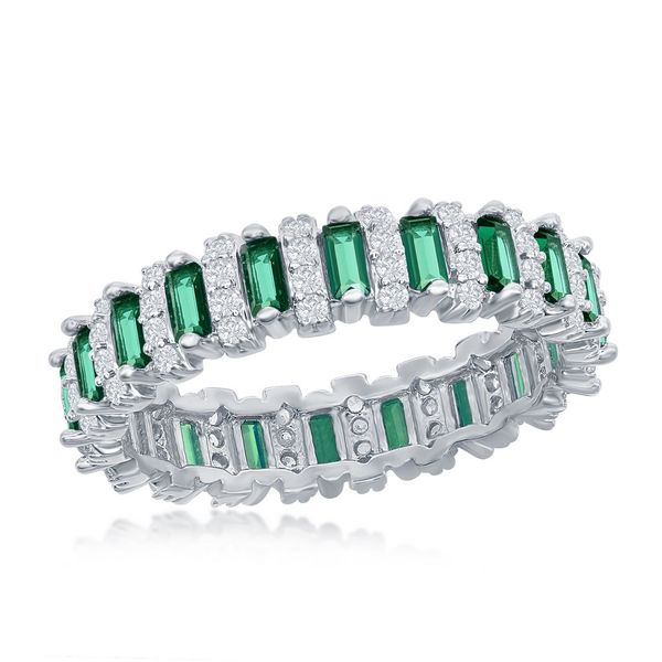 Sterling Silver Round & Baguette CZ Eternity Band Ring - Emerald Robert Irwin Jewelers Memphis, TN