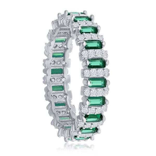 Sterling Silver Round & Baguette CZ Eternity Band Ring - Emerald Image 2 Robert Irwin Jewelers Memphis, TN