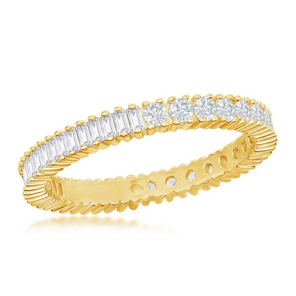 Sterling Silver Half Round and Half Baguette CZ Eternity Band Ring - Gold Plated Robert Irwin Jewelers Memphis, TN