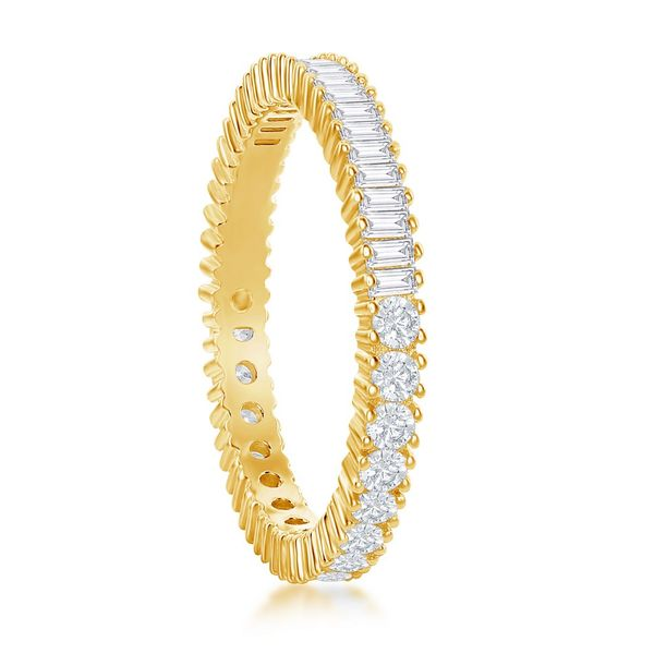 Sterling Silver Half Round and Half Baguette CZ Eternity Band Ring - Gold Plated Image 2 Robert Irwin Jewelers Memphis, TN
