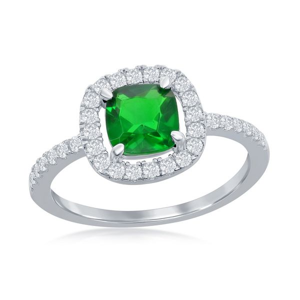 Sterling Silver White CZ Square Ring - Emerald CZ Robert Irwin Jewelers Memphis, TN