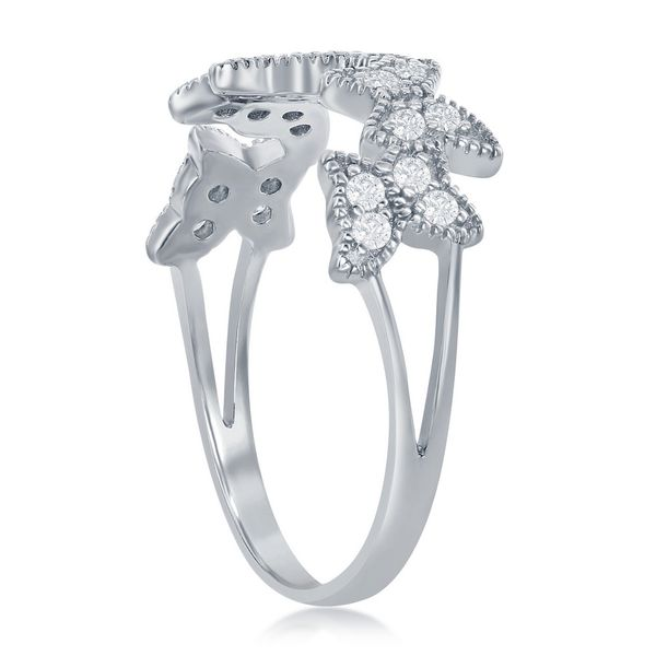 Sterling Silver Clear CZ Butterfly Ring Image 2 Robert Irwin Jewelers Memphis, TN