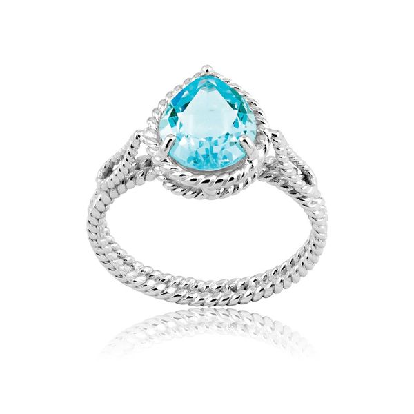 Sterling Silver Pear-Gem Twisted Wire Ring - Blue Topaz Robert Irwin Jewelers Memphis, TN
