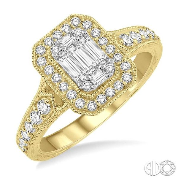 5/8 ct Octagonal Shape Round Cut and Baguette Diamond Ring in 14K Yellow and yellow and white gold Ross Elliott Jewelers Terre Haute, IN