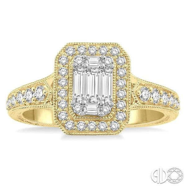 5/8 ct Octagonal Shape Round Cut and Baguette Diamond Ring in 14K Yellow and yellow and white gold Image 2 Ross Elliott Jewelers Terre Haute, IN