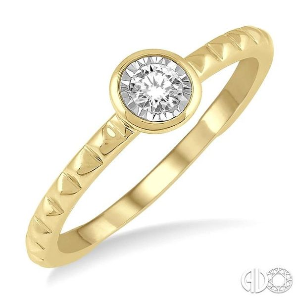 1/50 Ctw Round Cut Diamond Promise Ring in Pyramid Cutwork 10K Yellow Gold Ross Elliott Jewelers Terre Haute, IN