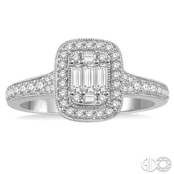 5/8 ct Round Cut and Baguette Diamond Ring in 14K White Gold Image 2 Ross Elliott Jewelers Terre Haute, IN